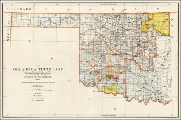 80-Oklahoma & Indian Territory Map By U.S. General Land Office