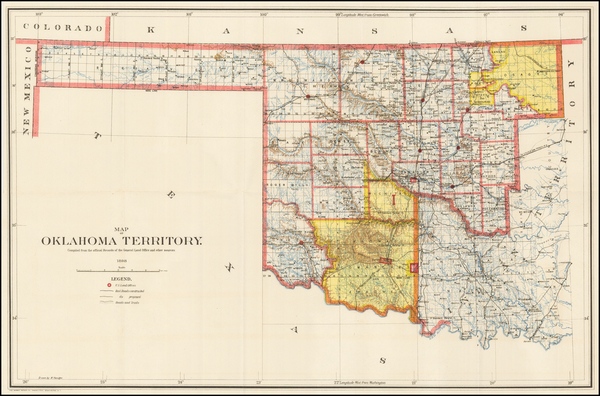 71-Oklahoma & Indian Territory Map By U.S. General Land Office