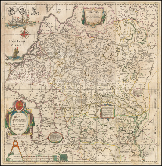 3-Poland, Russia, Ukraine and Baltic Countries Map By Willem Janszoon Blaeu / Hessel Gerritsz