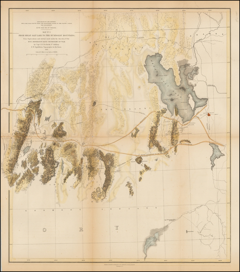 52-Southwest, Utah, Rocky Mountains and Utah Map By U.S. Pacific RR Surveys