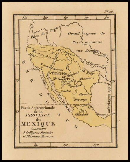 Texas, Southwest, Rocky Mountains, Mexico, Baja California and California Map By Louis Denis
