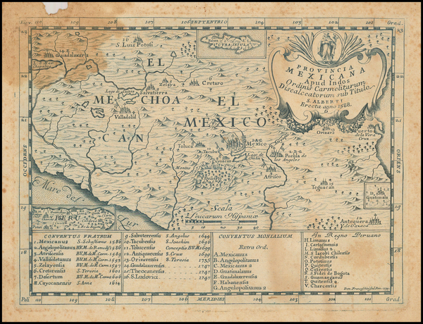 78-Mexico Map By Domenico Mariano Franceschini