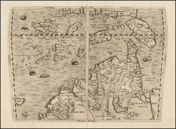 43-China, Japan, Southeast Asia and Philippines Map By Giovanni Battista Ramusio