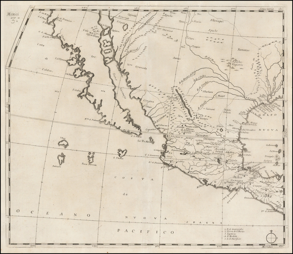71-Texas, Southwest, Mexico, Baja California and California Map By Giovanni Battista Nicolosi