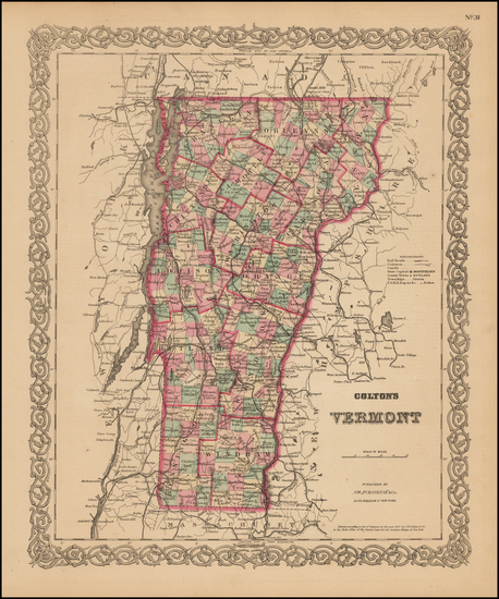 71-New England and Vermont Map By G.W.  & C.B. Colton