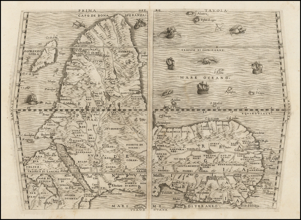 26-Africa and Africa Map By Giovanni Battista Ramusio