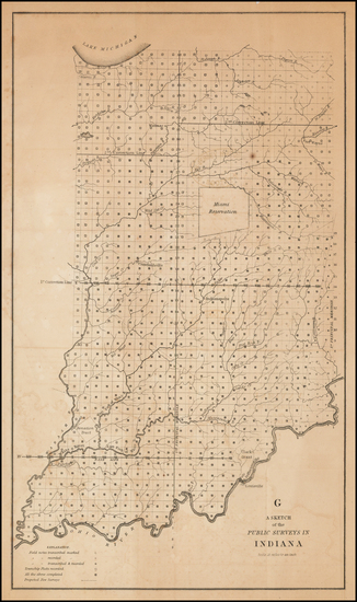 39-Indiana Map By U.S. State Surveys / Smith & McClellan