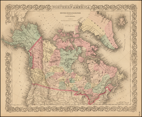 67-Alaska and Canada Map By Joseph Hutchins Colton