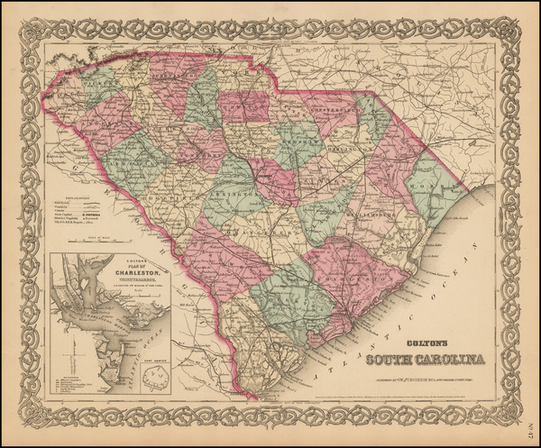 99-South Carolina Map By G.W.  & C.B. Colton
