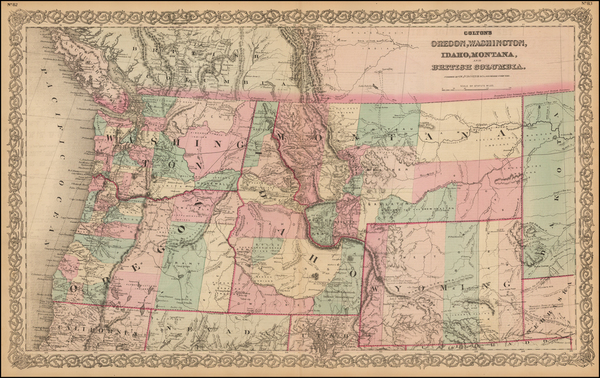 22-Plains, Rocky Mountains, Montana, Wyoming and Canada Map By G.W.  & C.B. Colton