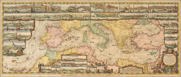 Ukraine, Italy, Spain, Greece, Turkey and Mediterranean Map By Romeyn De Hooghe