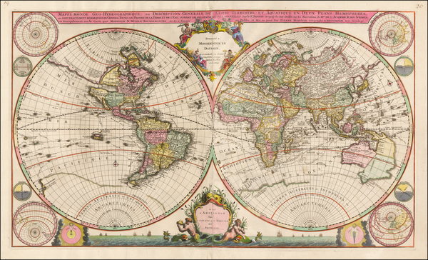 51-World Map By Johannes Covens  &  Cornelis Mortier