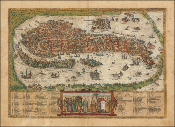61-Italy and Venice Map By Georg Braun  &  Frans Hogenberg