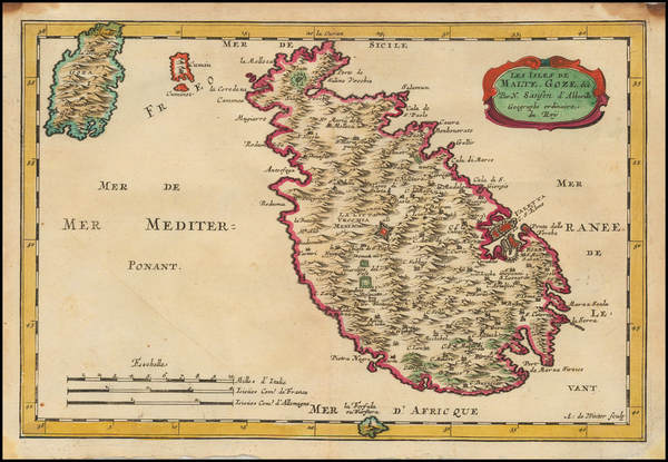 97-Italy and Malta Map By Nicolas Sanson