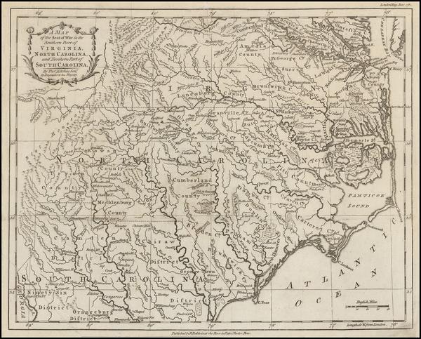 68-South, Southeast and North Carolina Map By London Magazine