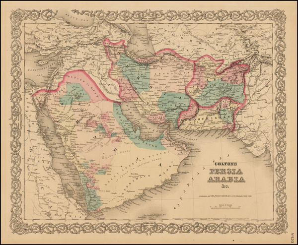 85-Central Asia & Caucasus and Middle East Map By Joseph Hutchins Colton