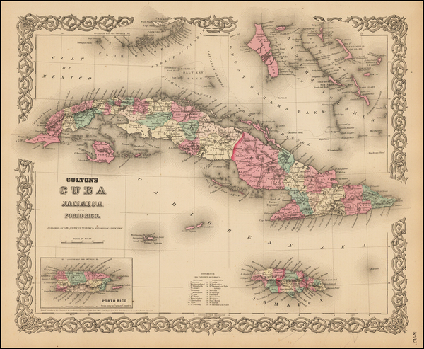 43-Caribbean Map By Joseph Hutchins Colton