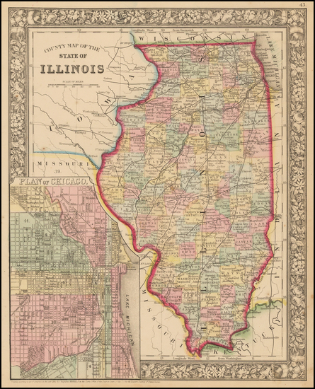 74-Midwest and Illinois Map By Samuel Augustus Mitchell Jr.