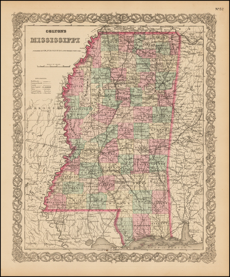 90-Mississippi Map By G.W.  & C.B. Colton