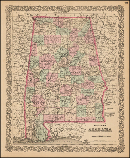 60-Alabama Map By G.W.  & C.B. Colton