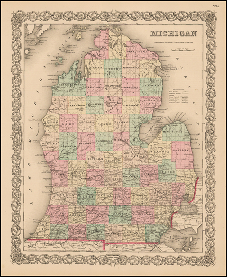 16-Michigan Map By Joseph Hutchins Colton