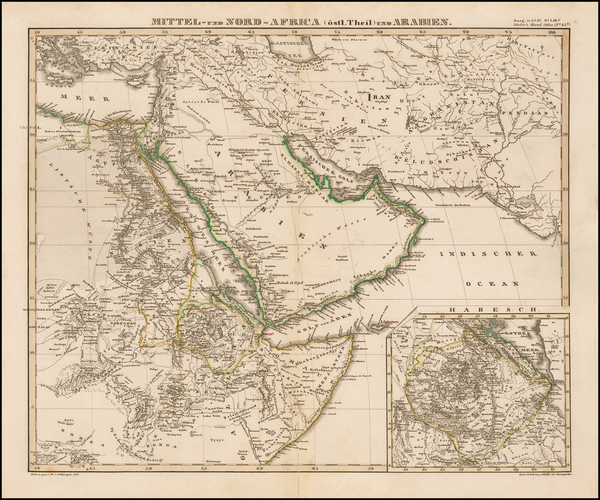 Middle East, Arabian Peninsula and Turkey & Asia Minor Map By Adolf Stieler