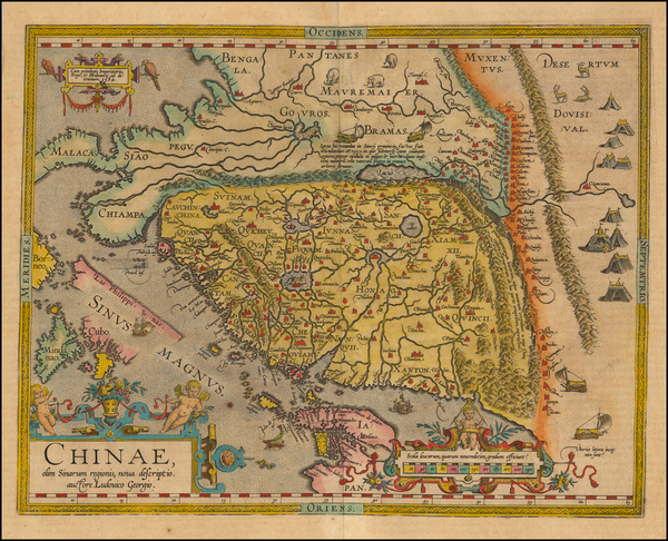 35-China, Japan, Southeast Asia and Philippines Map By Abraham Ortelius