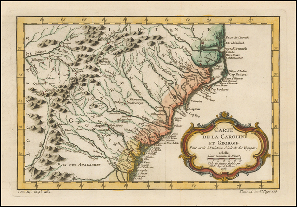 92-Southeast, Georgia, North Carolina and South Carolina Map By Jacques Nicolas Bellin
