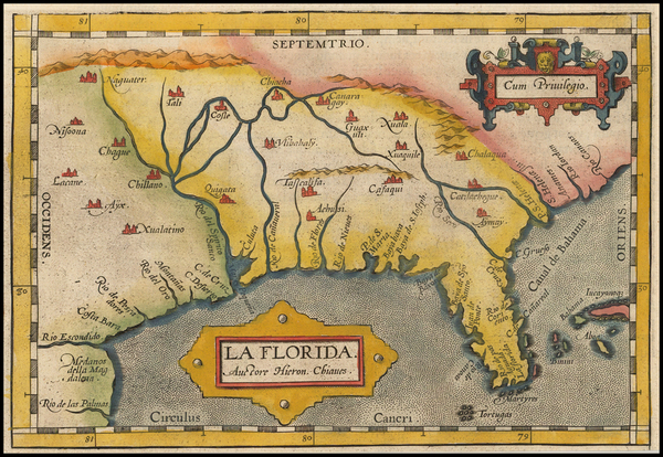 48-Florida, South and Southeast Map By Abraham Ortelius