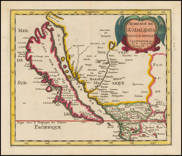 74-Southwest, Mexico, Baja California and California Map By Nicolas Sanson