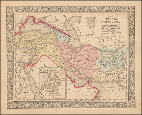 32-Central Asia & Caucasus, Persia and Turkey & Asia Minor Map By Samuel Augustus Mitchell
