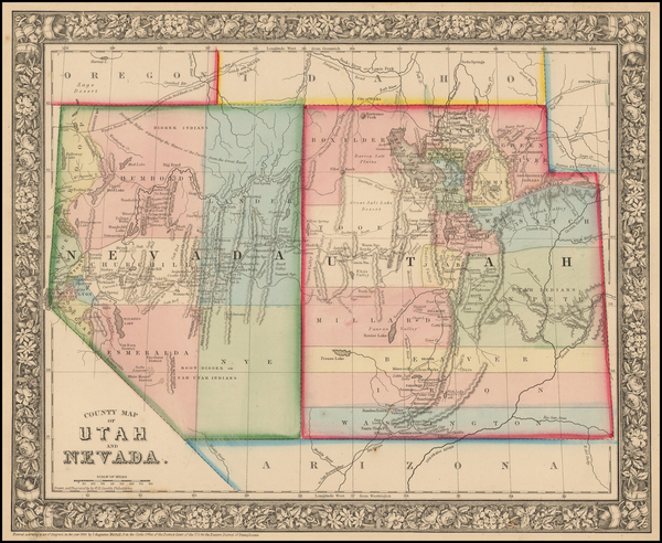 58-Utah, Nevada and Utah Map By Samuel Augustus Mitchell Jr.