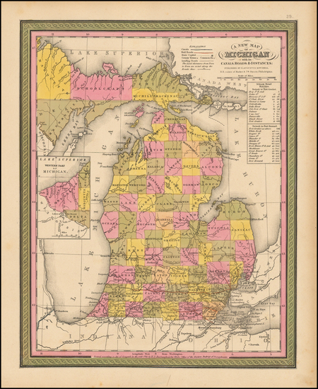 99-Midwest and Michigan Map By Samuel Augustus Mitchell