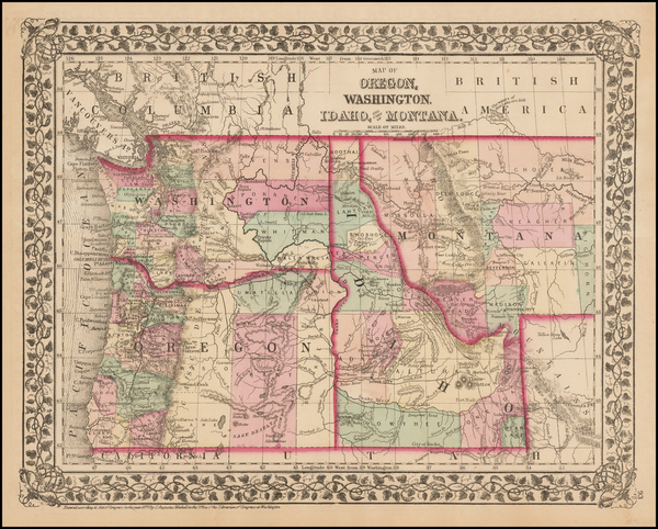 34-Plains, Rocky Mountains, Montana and Oregon Map By Samuel Augustus Mitchell Jr.