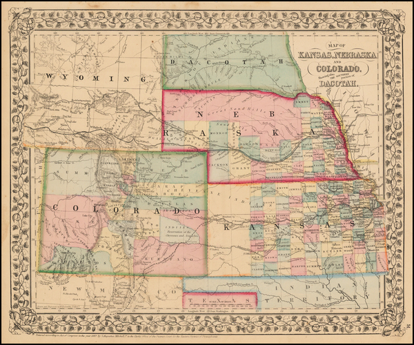 84-Plains, Kansas, Nebraska, Southwest, Rocky Mountains and Colorado Map By Samuel Augustus Mitche