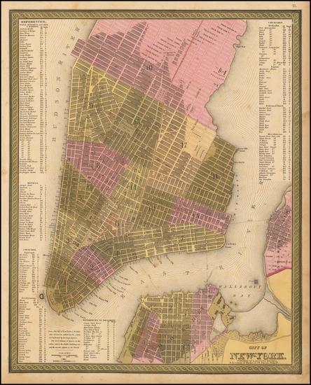 54-New York City Map By Samuel Augustus Mitchell
