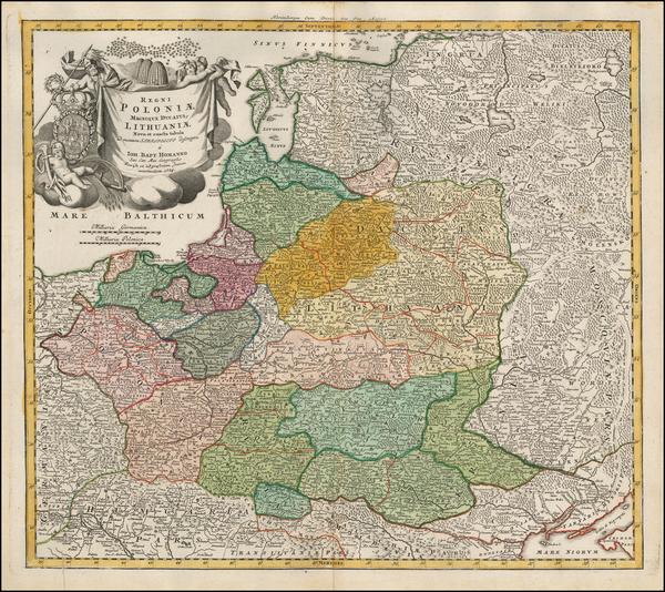 83-Poland, Russia, Ukraine and Baltic Countries Map By Johann Baptist Homann
