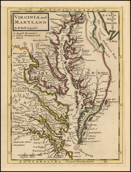 85-Mid-Atlantic, Maryland, Delaware, Southeast and Virginia Map By Herman Moll