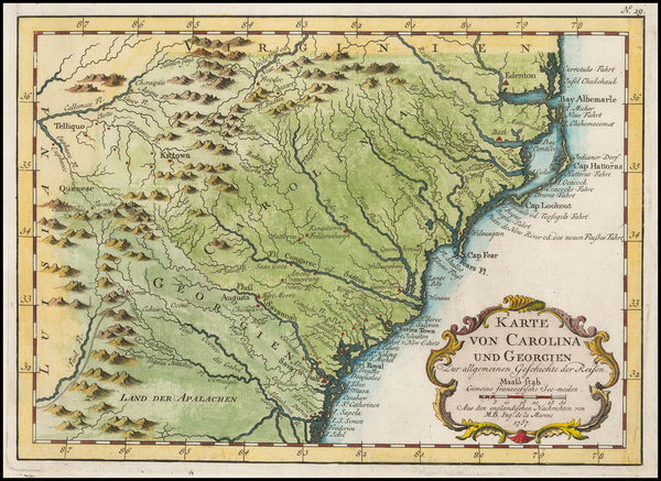 63-Southeast, North Carolina and South Carolina Map By Jacques Nicolas Bellin