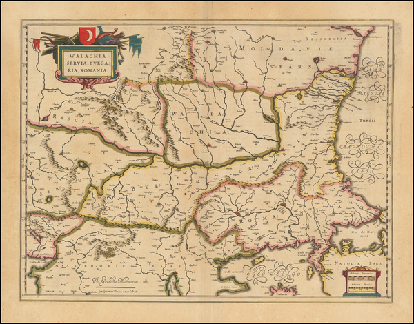 66-Romania, Balkans and Bulgaria Map By Willem Janszoon Blaeu