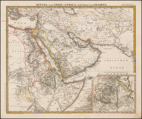 Middle East and Arabian Peninsula Map By Adolf Stieler