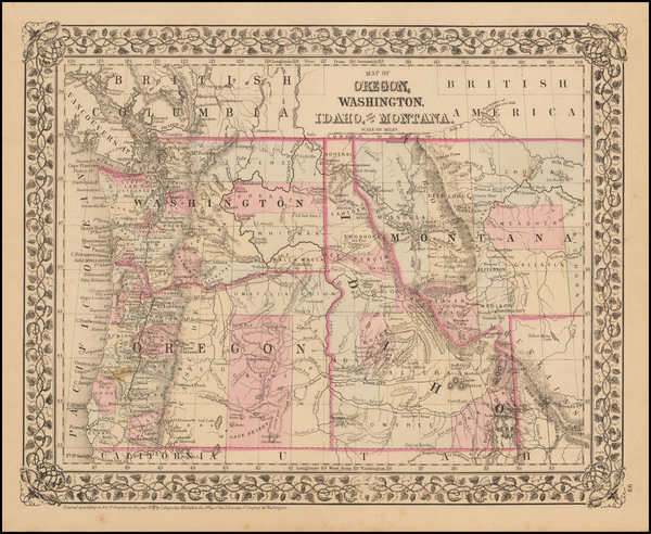 65-Plains, Idaho, Montana, Oregon and Washington Map By Samuel Augustus Mitchell Jr.