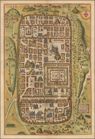 75-Holy Land and Jerusalem Map By Georg Braun  &  Frans Hogenberg
