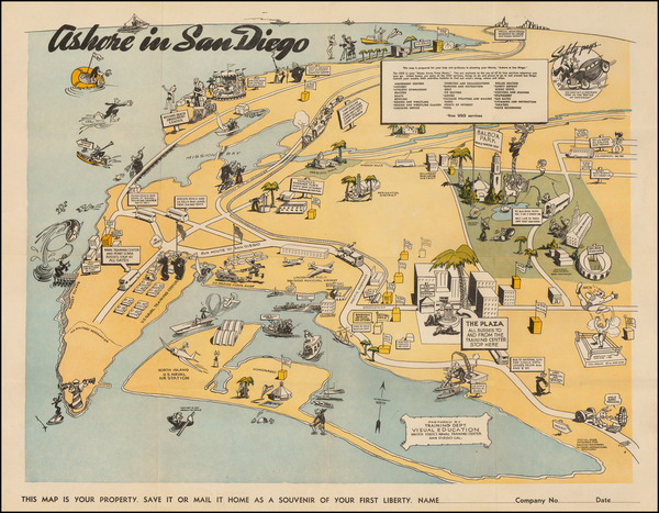 83-California and San Diego Map By United States Naval Training Center