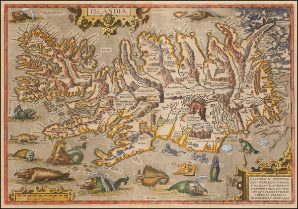 7-Atlantic Ocean, Iceland and Balearic Islands Map By Abraham Ortelius