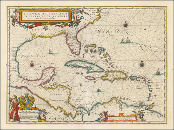 91-Florida, South, Southeast, Caribbean and Central America Map By Willem Janszoon Blaeu