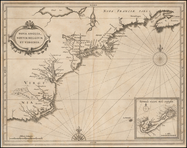 64-New England, New York State, Mid-Atlantic, Southeast and Bermuda Map By Joannes De Laet
