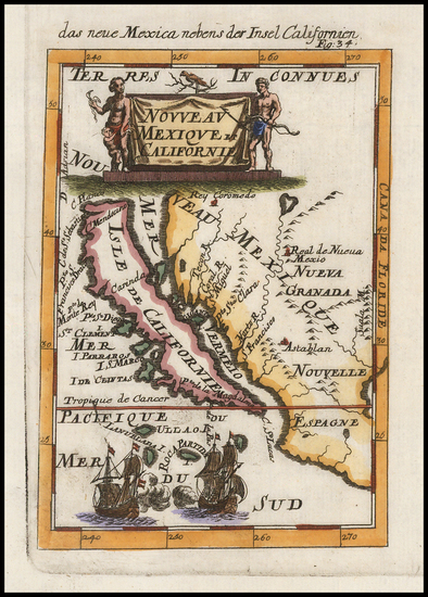 58-Baja California and California Map By Alain Manesson Mallet