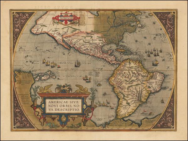 92-Western Hemisphere, North America, South America and America Map By Abraham Ortelius