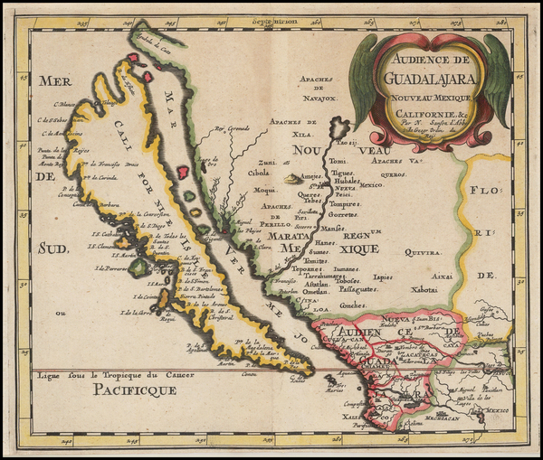 24-Southwest, Mexico, Baja California and California Map By Nicolas Sanson